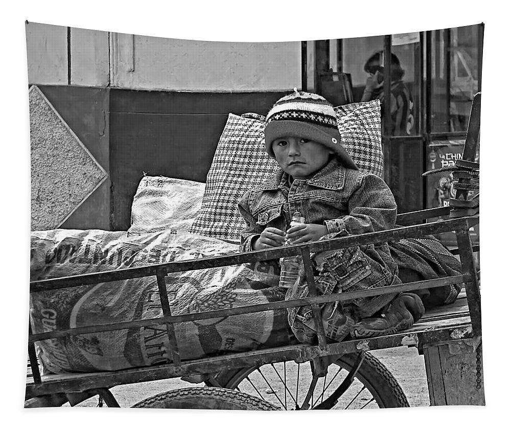 Peru Tapestry featuring the photograph Tiny Biker 2 Monochrome by Steve Harrington