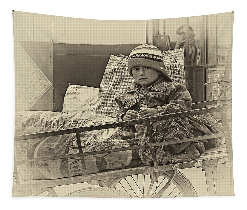 Peru Tapestry featuring the photograph Tiny Biker 2 Sepia by Steve Harrington
