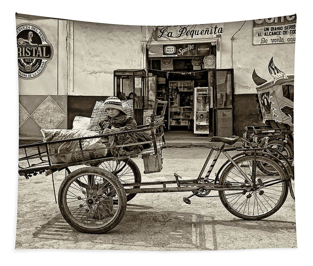 Peru Tapestry featuring the photograph Tiny Biker Sepia by Steve Harrington