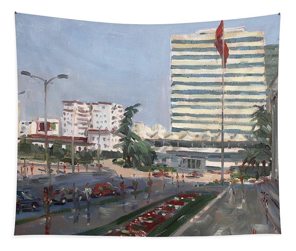 Tirana Tapestry featuring the painting Tirana by Ylli Haruni
