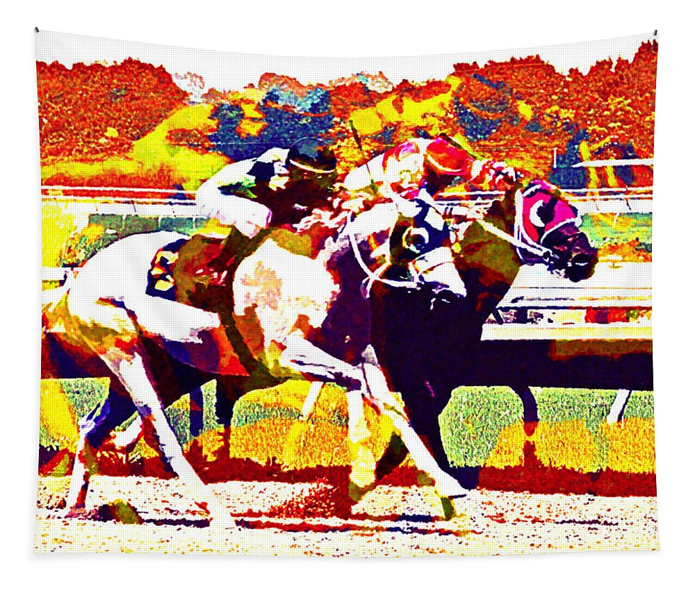 Horses Racing Jockeys Abstract Tapestry featuring the photograph To The Finish by Alice Gipson