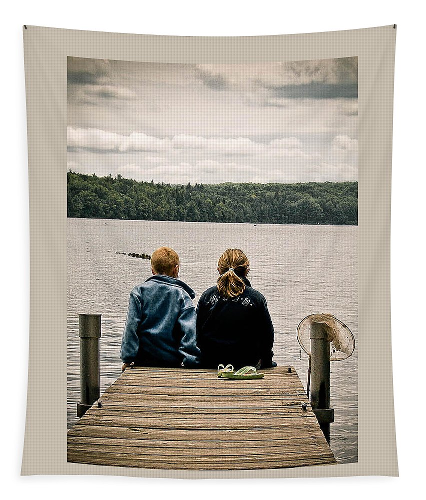 Boy Tapestry featuring the photograph Toes In The Water by Trish Tritz