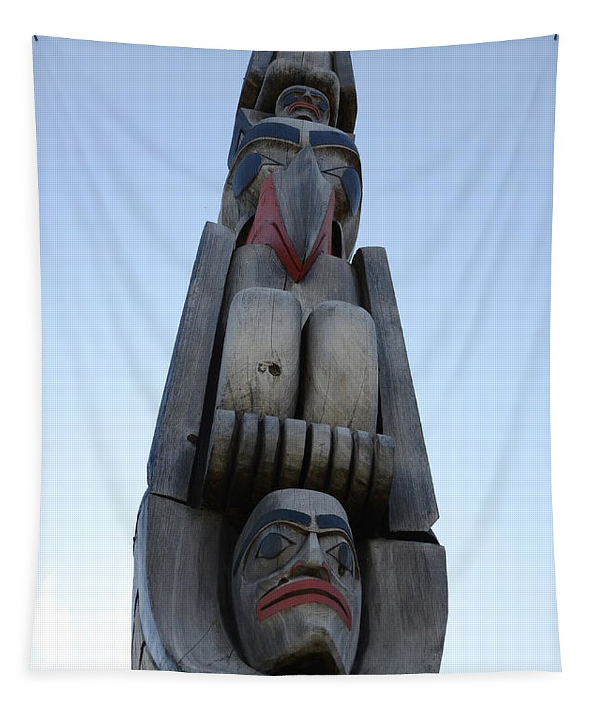 Totem Pole Tapestry featuring the photograph Totem Pole 14 by Bob Christopher