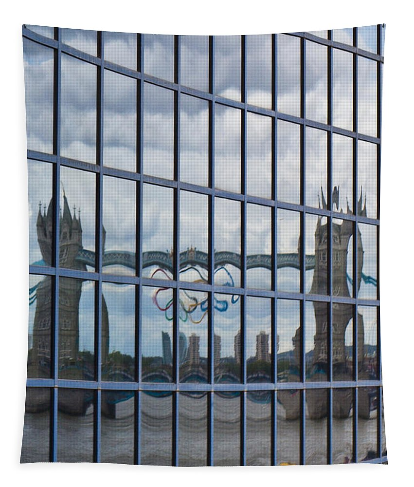 Tower Bridge Tapestry featuring the photograph Tower Bridge Reflection by David Pyatt