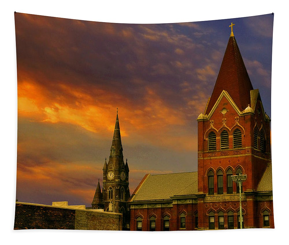 Church Tapestry featuring the photograph Towers Of Faith by Brian Fisher