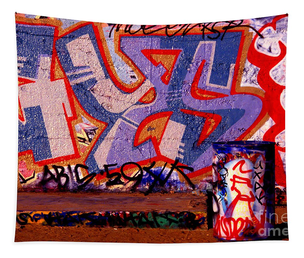 Graffiti Tapestry featuring the photograph Trash Can Art by Paul W Faust - Impressions of Light