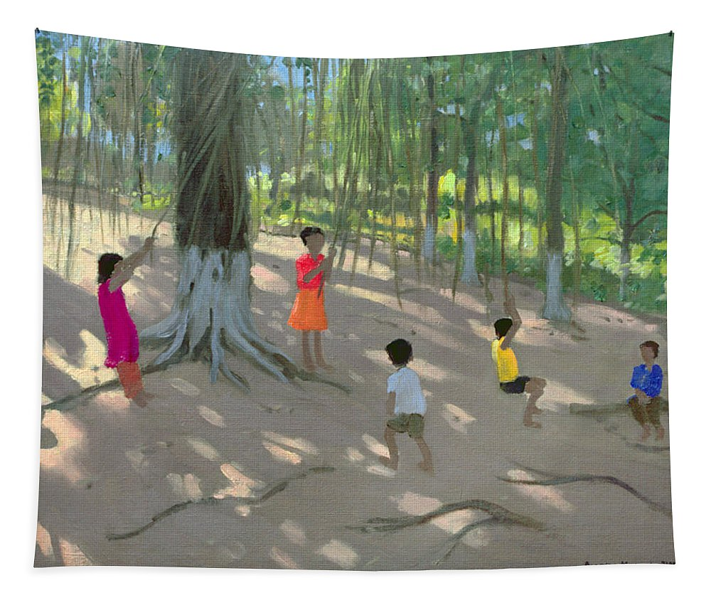 Swinging Tapestry featuring the painting Tree Swing by Andrew Macara