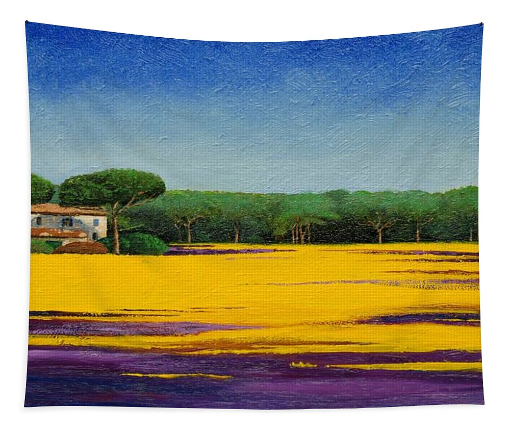 Colourful; Colorful;tuscany; Italian Landscape; Tree Trees; Architecture; Italy; Italian; Landscape; Field; Yellow; Purple; Blue: House; Tranquil; Serene Tapestry featuring the painting Tuscan Landcape by Trevor Neal
