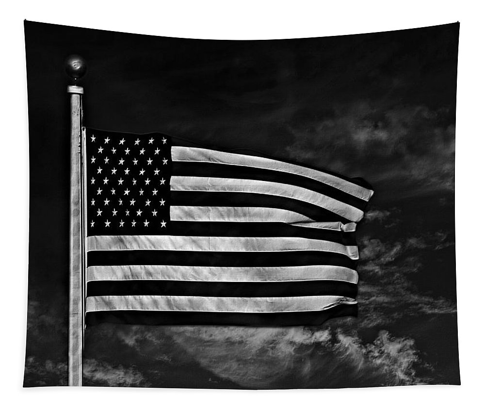 Flag Tapestry featuring the photograph Twilight's Last Gleaming Bw by David Dehner