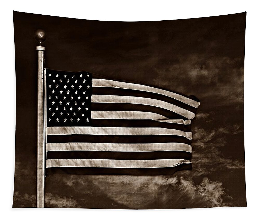 Flag Tapestry featuring the photograph Twilight's Last Gleaming S by David Dehner