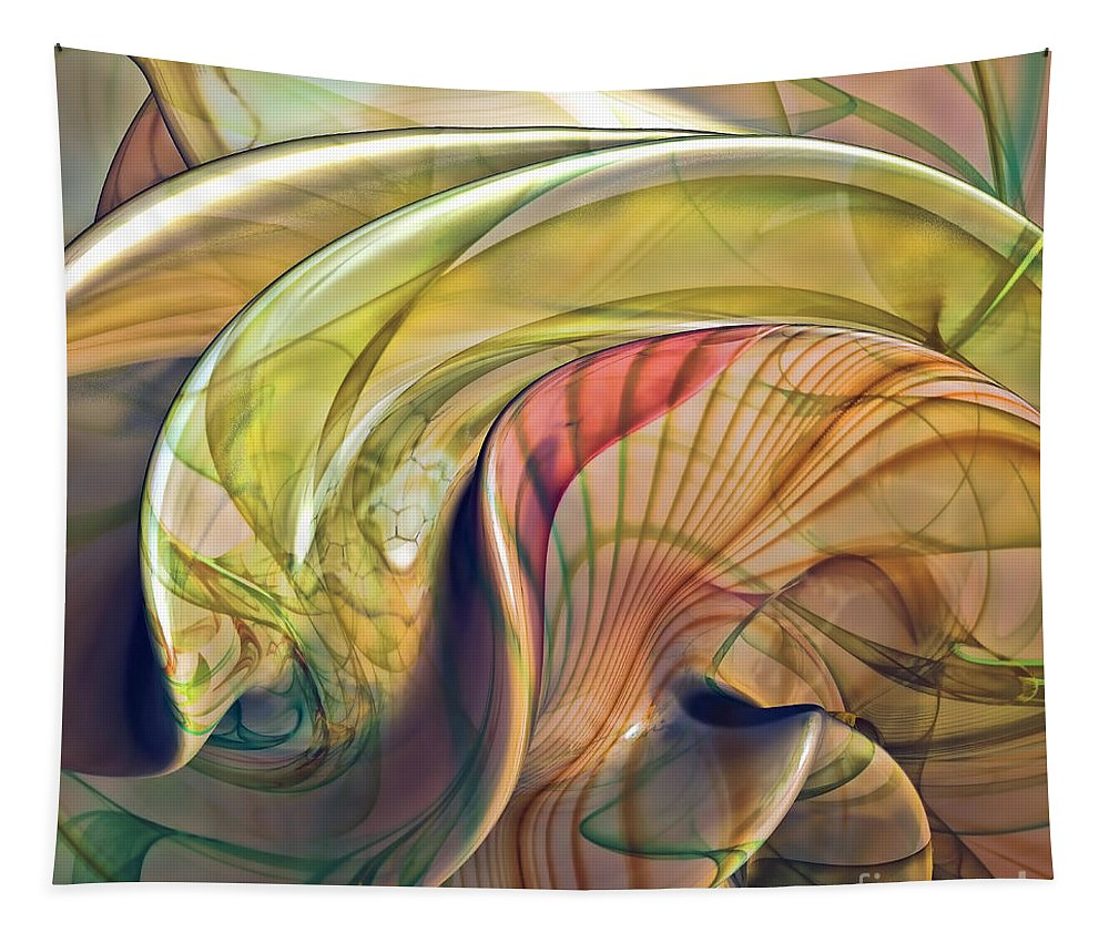 Abstract Tapestry featuring the digital art Twist Of Color by Deborah Benoit