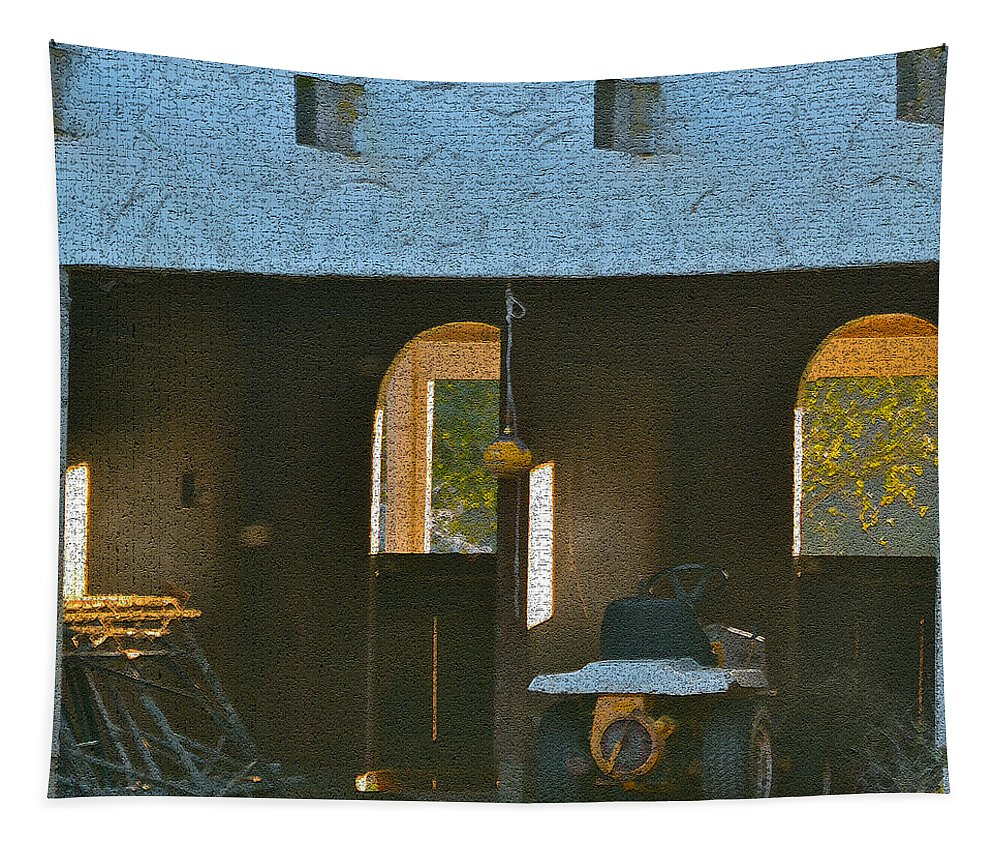 Digital Photos Tapestry featuring the photograph Two Tractor Garage by Bill Owen