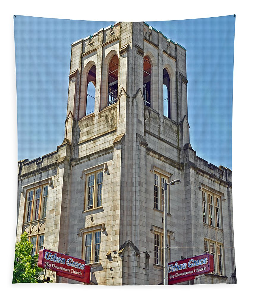 Urban Grace Church Tapestry featuring the photograph Urban Grace Church by Tikvah's Hope