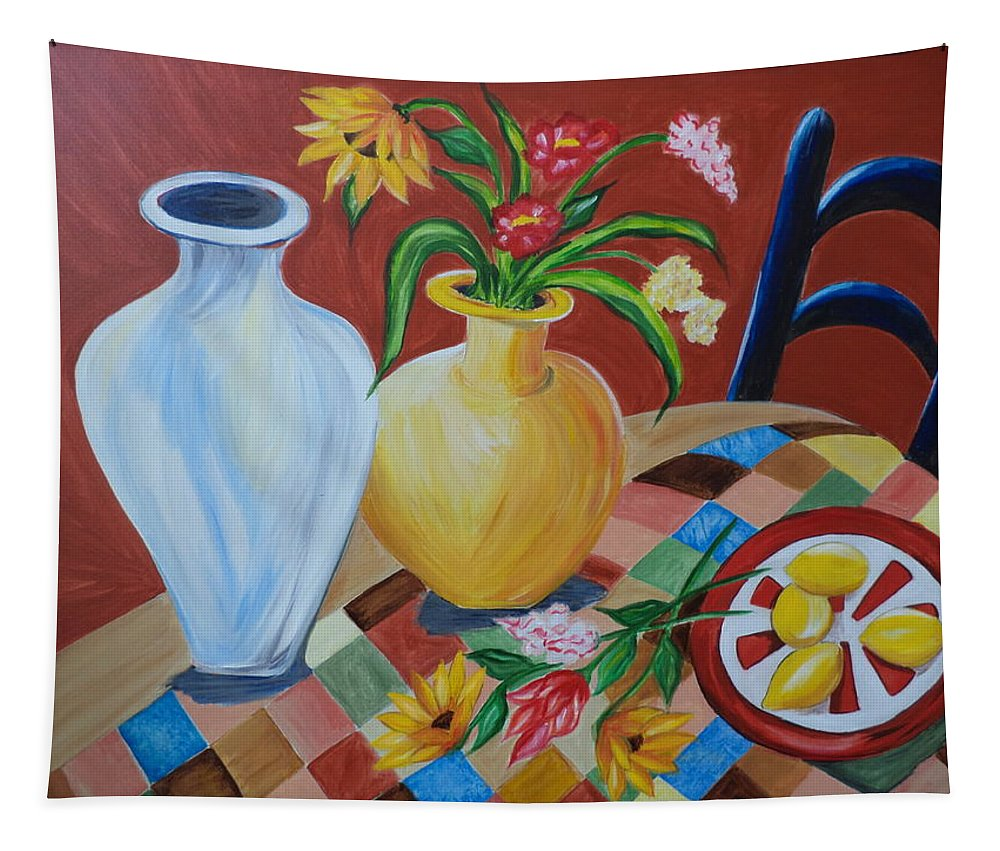 Vases Tapestry featuring the painting Alice's Table by Rosie Sherman