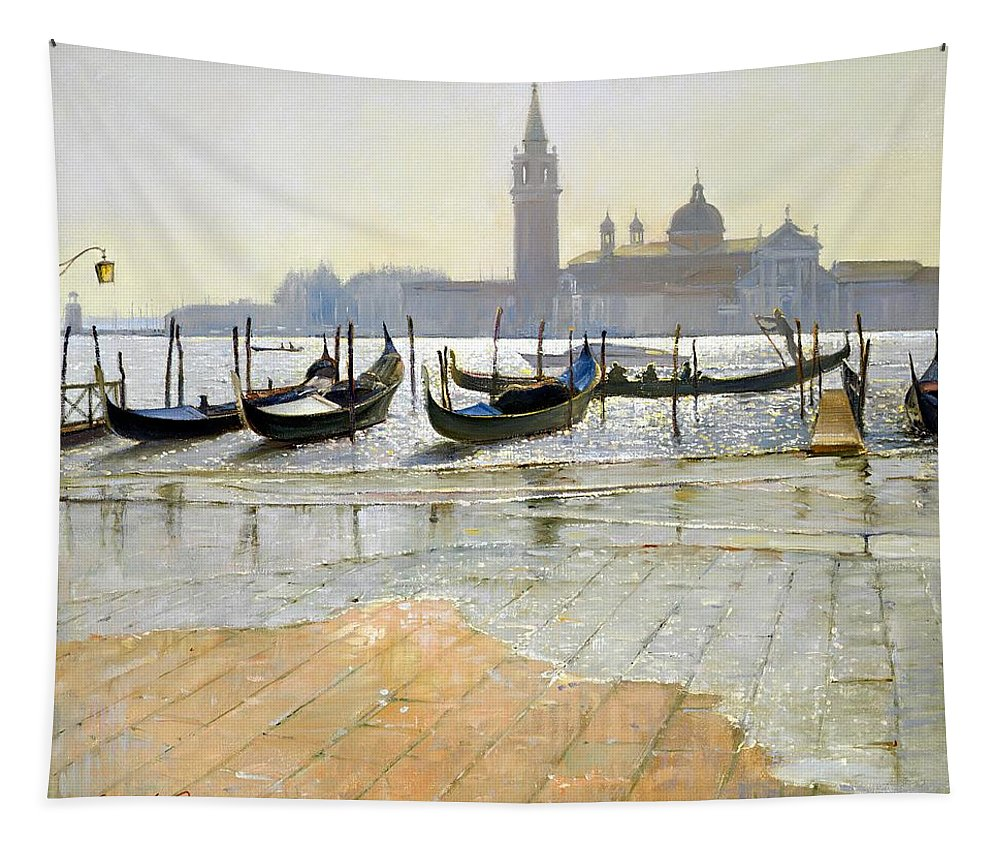 Gondola; Canal; San Giorgio Maggiore; Sunrise; Flooding; Flooded; Landscape Tapestry featuring the painting Venice At Dawn by Timothy Easton