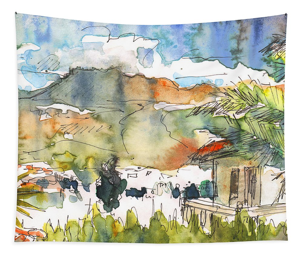 Travel Tapestry featuring the painting View From My Balcony In El Albir by Miki De Goodaboom