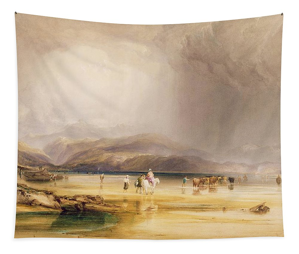 Xyc283261 Tapestry featuring the photograph View From Snowdon From Sands Of Traeth Mawe by Anthony Vandyke Copley