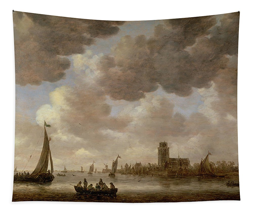 Cathedral; Landscape; Church; Windmill; Boats; Canal; River; Cloud Tapestry featuring the painting View Of Dordrecht Downstream From The Grote Kerk by Jan Josephsz van Goyen