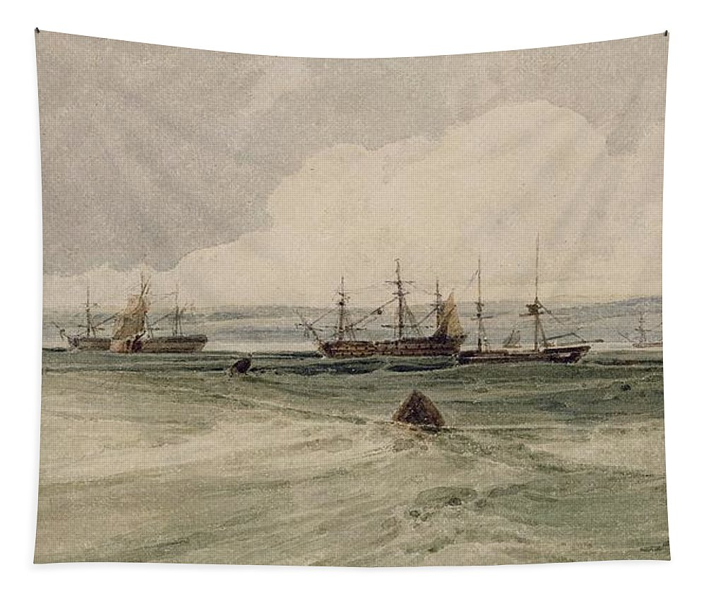 View Tapestry featuring the painting View Of Sheerness by Francois Louis Thomas Francia