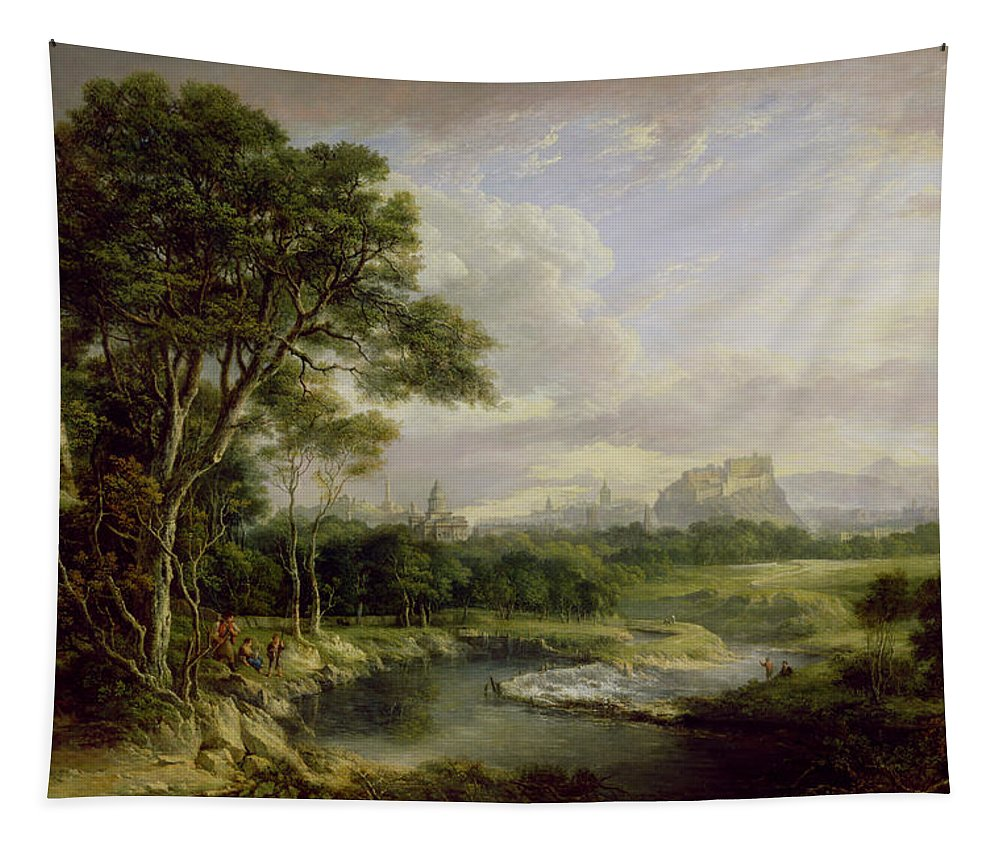 Xyc230570 Tapestry featuring the photograph View Of The City Of Edinburgh by Alexander Nasmyth