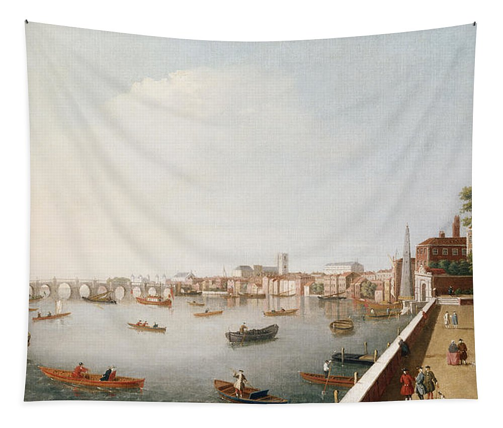 View Tapestry featuring the painting View Of The River Thames From The Adelphi Terrace by William James