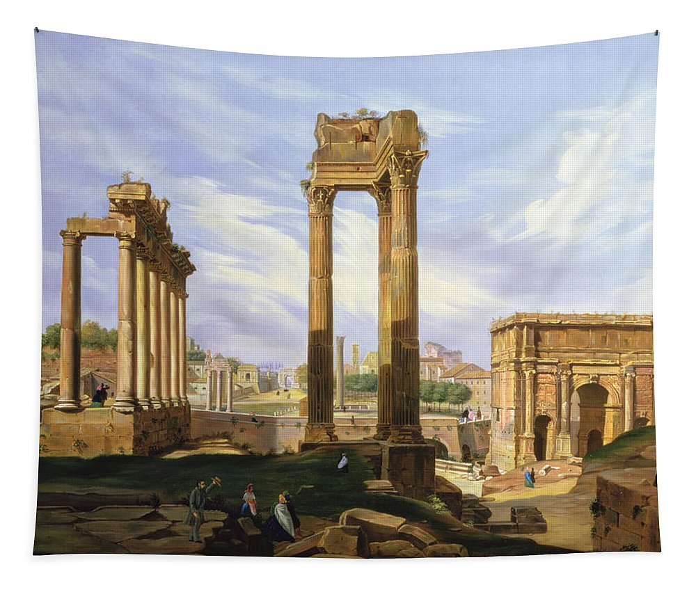 Gg87979 Tapestry featuring the photograph View Of The Roman Forum by Jodocus Sebasiaen Adeele