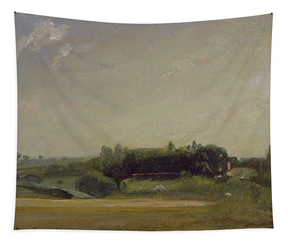 View Tapestry featuring the painting View Towards The Rectory - East Bergholt by John Constable