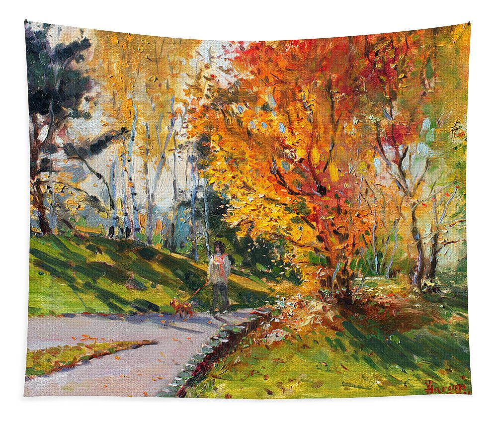 Landscape Tapestry featuring the painting Viola In A Nice Autumn Day by Ylli Haruni