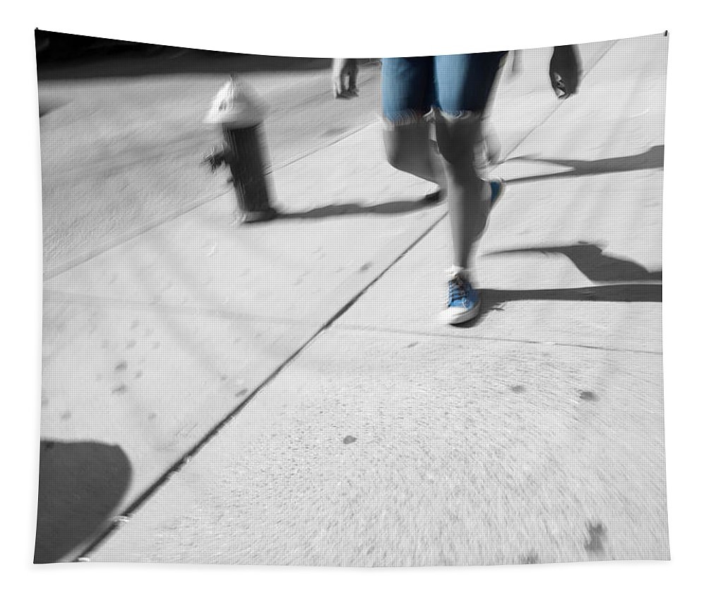 Walking Tapestry featuring the photograph Walking Blues by Karol Livote