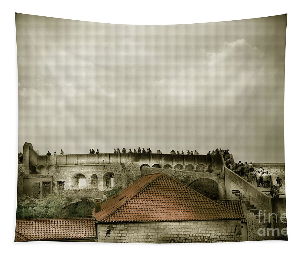 Dubrovnik Tapestry featuring the photograph Walls Of Dubrovnik by Madeline Ellis