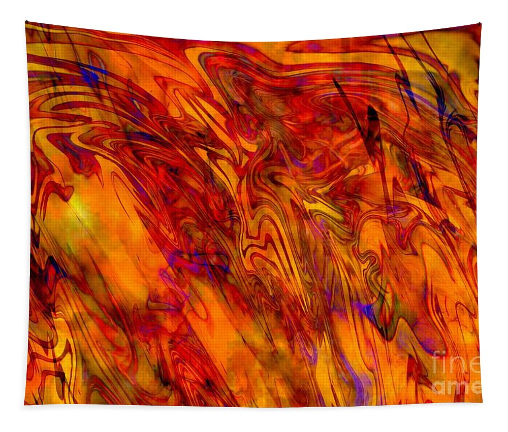 Abstract Tapestry featuring the digital art Warmth And Charm - Abstract Art by Carol Groenen