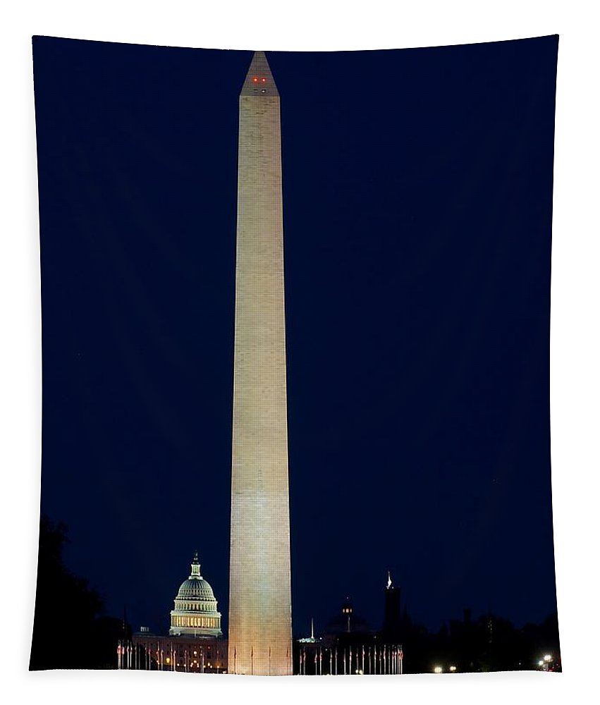 America Tapestry featuring the photograph Washington Monument At Night by Nick Zelinsky