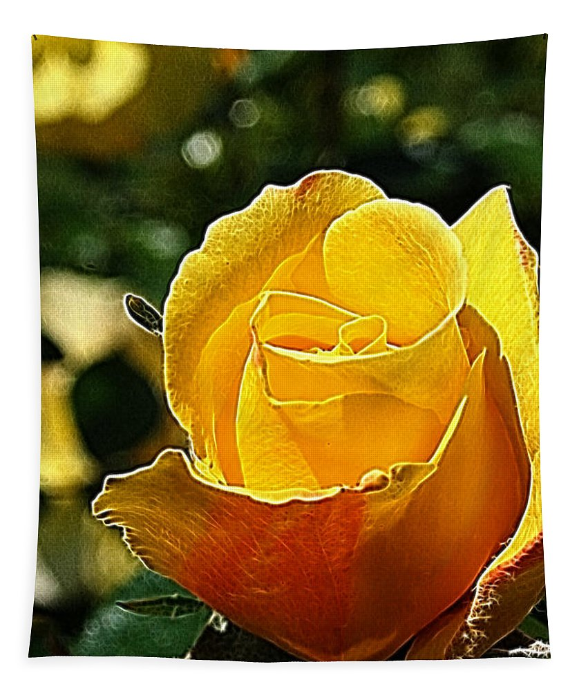 Rose Tapestry featuring the photograph Water Color Paper Rose by Lisa Stanley