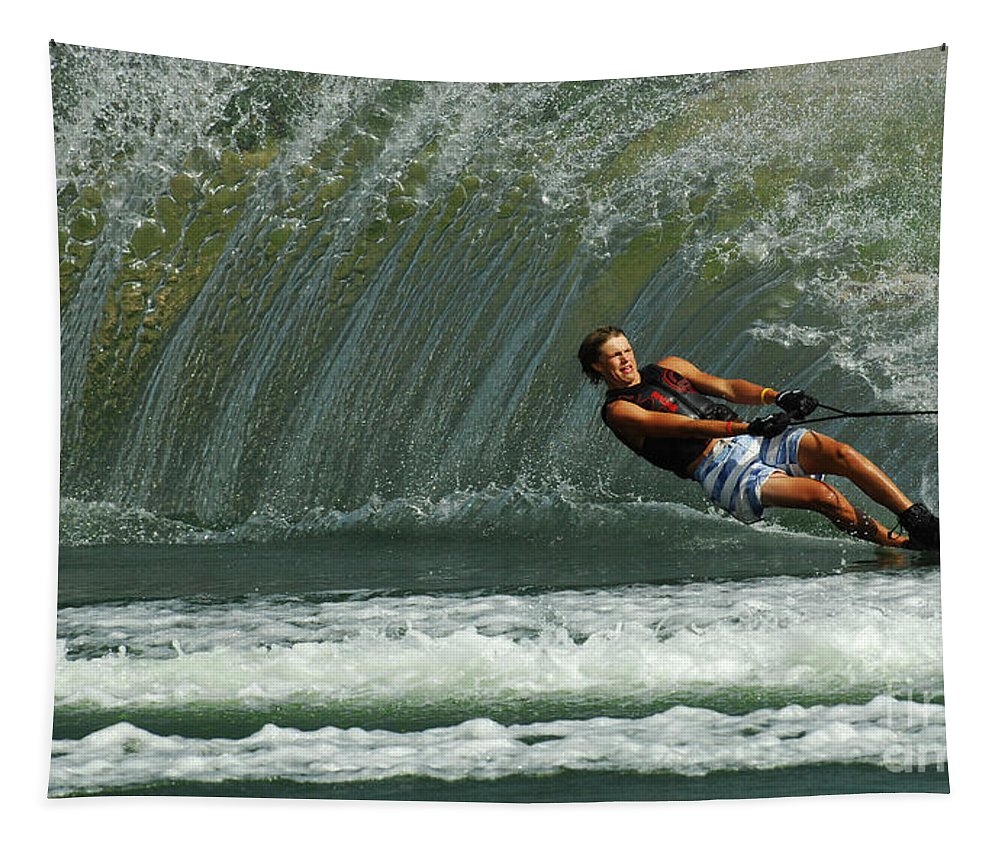 Water Skiing Tapestry featuring the photograph Water Skiing Magic Of Water 1 by Bob Christopher