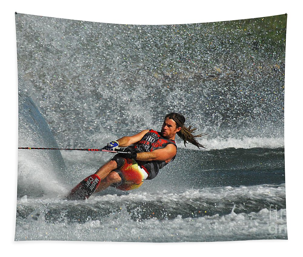 Water Skiing Tapestry featuring the photograph Water Skiing Magic Of Water 15 by Bob Christopher