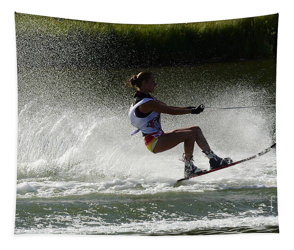 Water Skiing Tapestry featuring the photograph Water Skiing Magic Of Water 16 by Bob Christopher