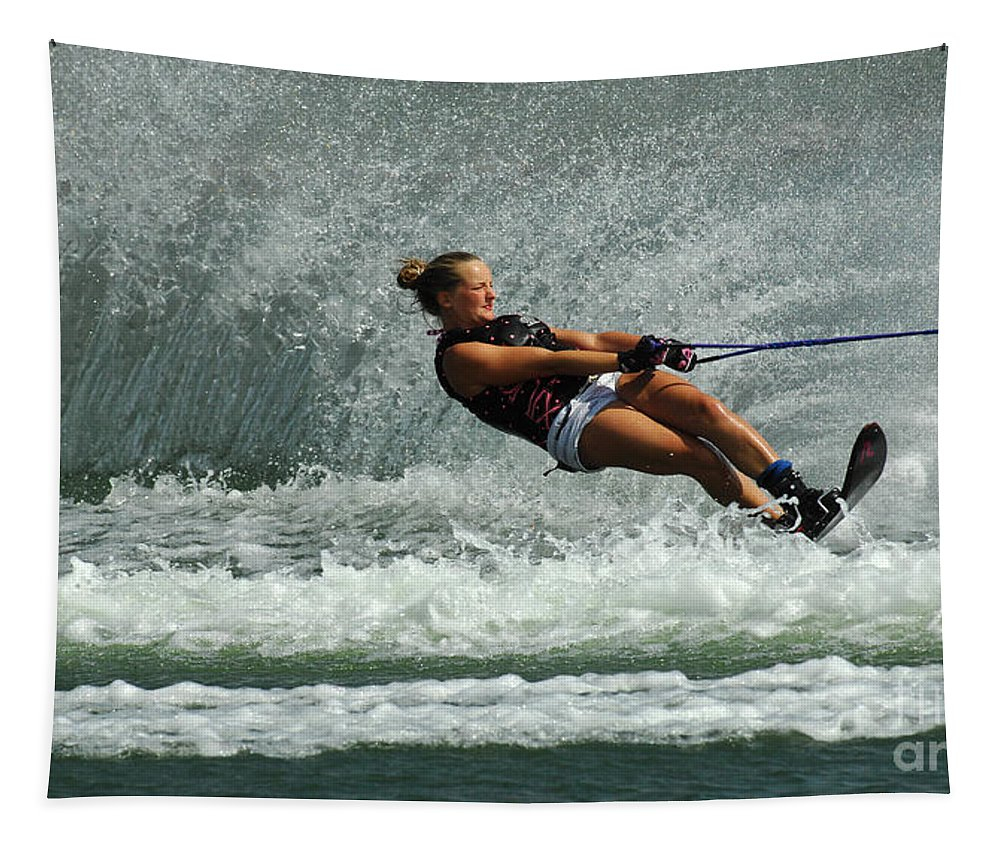 Water Skiing Tapestry featuring the photograph Water Skiing Magic Of Water 2 by Bob Christopher