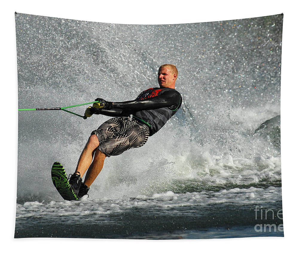Water Skiing Tapestry featuring the photograph Water Skiing Magic Of Water 20 by Bob Christopher