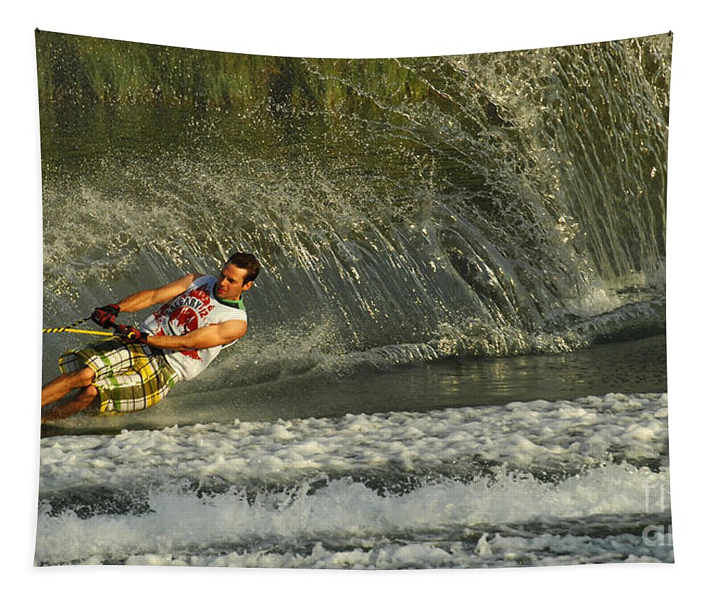 Water Skiing Tapestry featuring the photograph Water Skiing Magic Of Water 8 by Bob Christopher