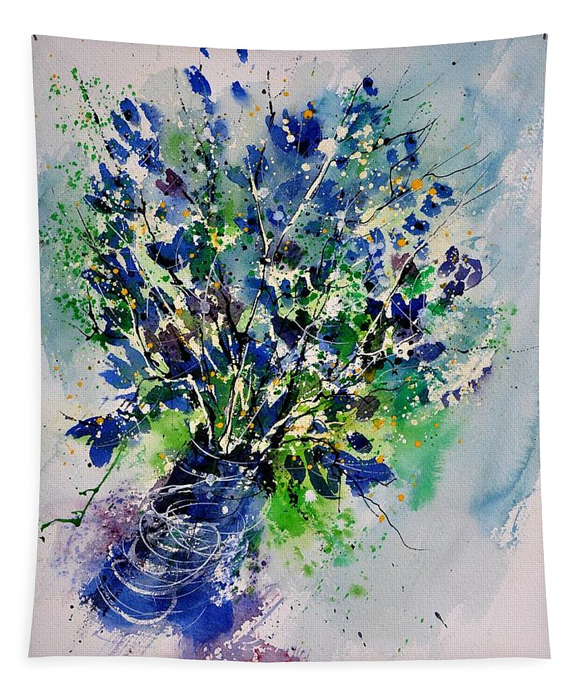 Flowers Tapestry featuring the painting Watercolor 110190 by Pol Ledent