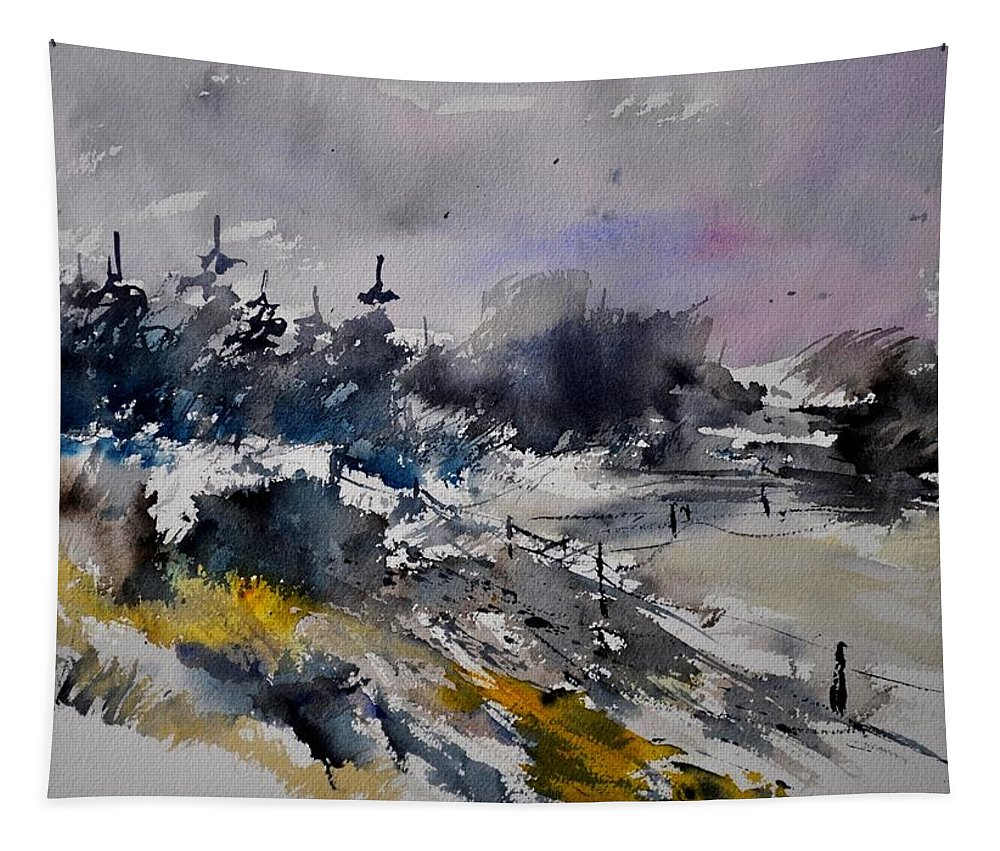 Abstract Tapestry featuring the painting Watercolor 217021 by Pol Ledent