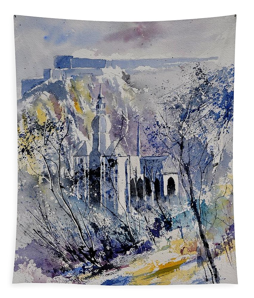 Town Tapestry featuring the painting Watercolor Dinant 110172 by Pol Ledent
