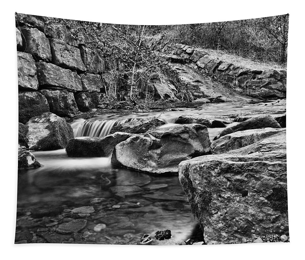 Waterfall Tapestry featuring the photograph Waterfall Mono by Steve Purnell