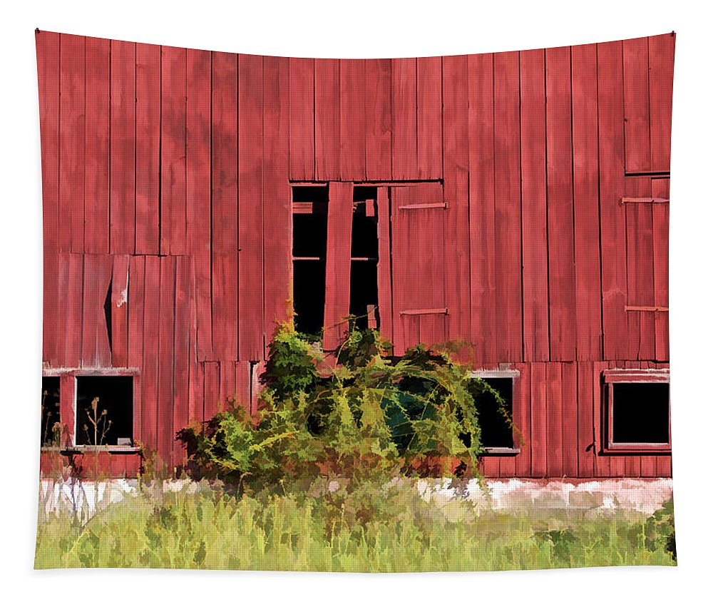 Agriculture Tapestry featuring the photograph Weathered Red Barn Of New Jersey by David Letts
