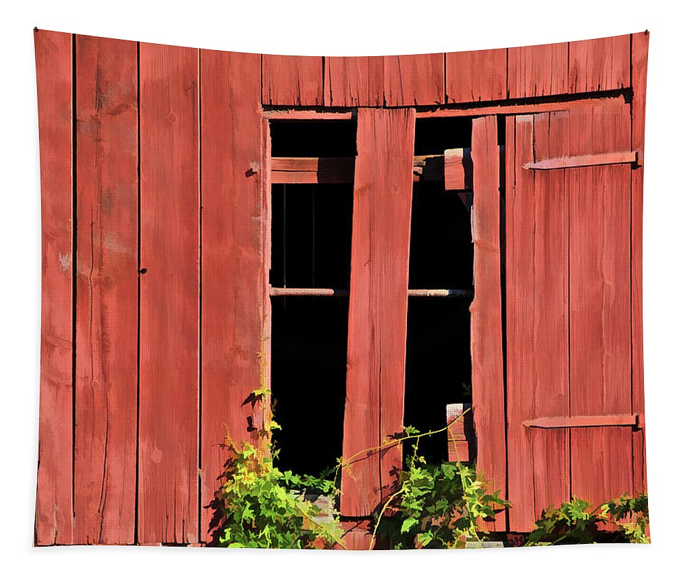 Agriculture Tapestry featuring the photograph Weathered Red Barn Window Of New Jersey by David Letts