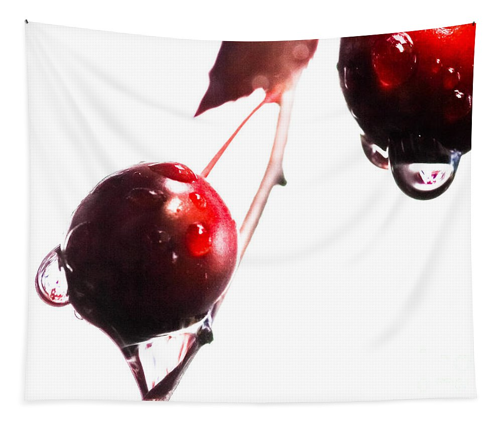 Wet And Wild Plum Tapestry featuring the photograph Wet And Wild Plum by Mitch Shindelbower