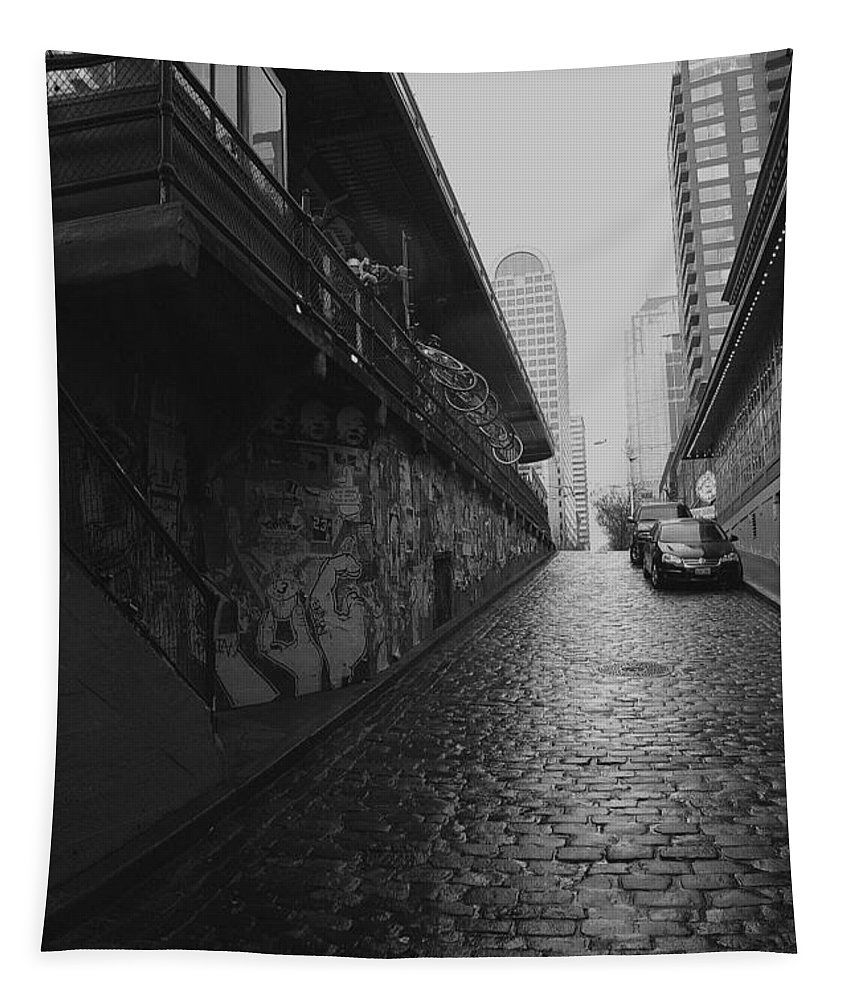 Seattle Tapestry featuring the photograph Wet Cobbles by Mitch Shindelbower