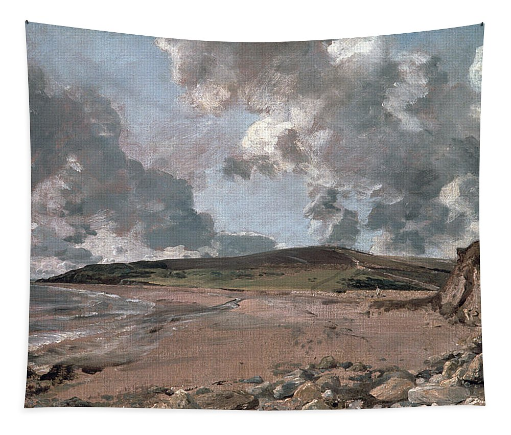 Furzy Cliff; Sand; Clouds; Cloud; Landscape; Rocky; Desolate; Barren; Romantic; Romanticism; Darkened; Storm; Stormy Tapestry featuring the painting Weymouth Bay With Jordan Hill by John Constable