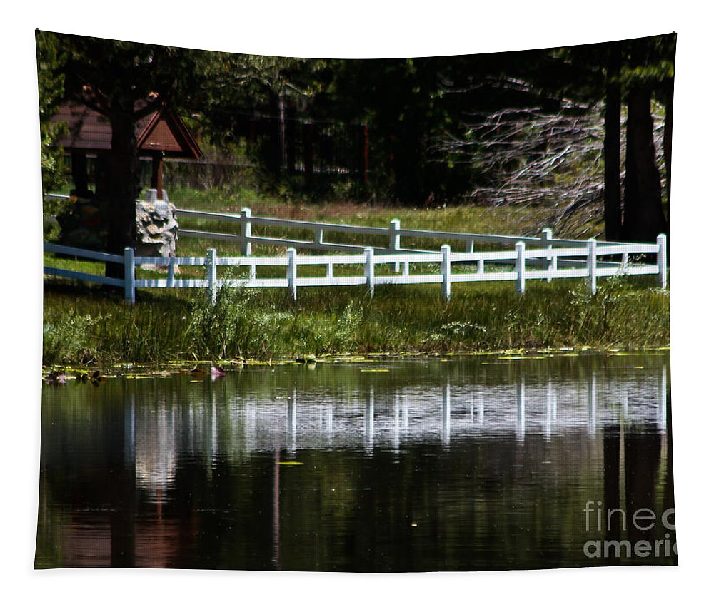 White Fence Tapestry featuring the photograph White Fence by Mitch Shindelbower