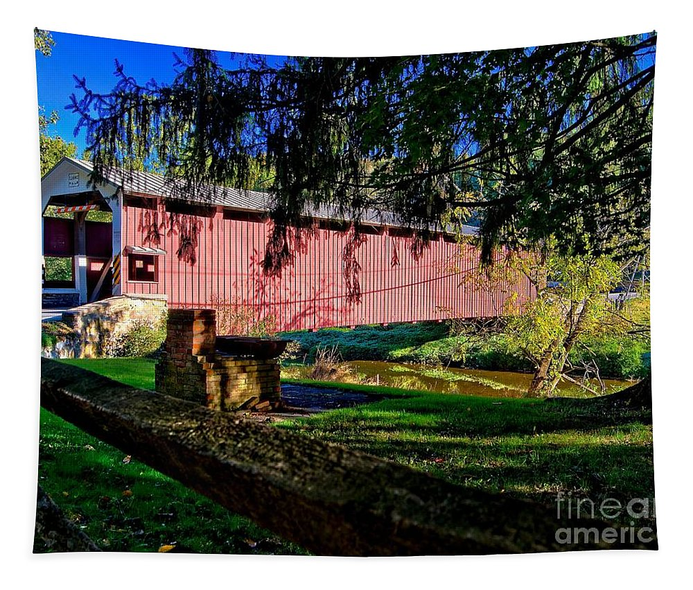 American Tapestry featuring the photograph White Rock Bridge by Nick Zelinsky